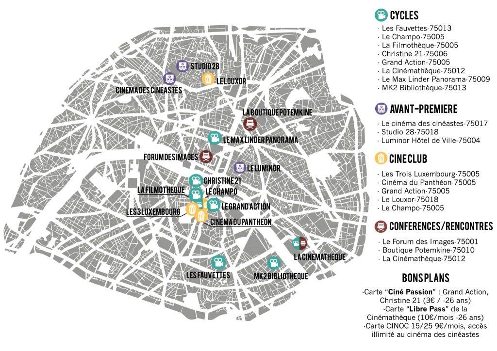 Cartographie des bons plans ciné à Paris